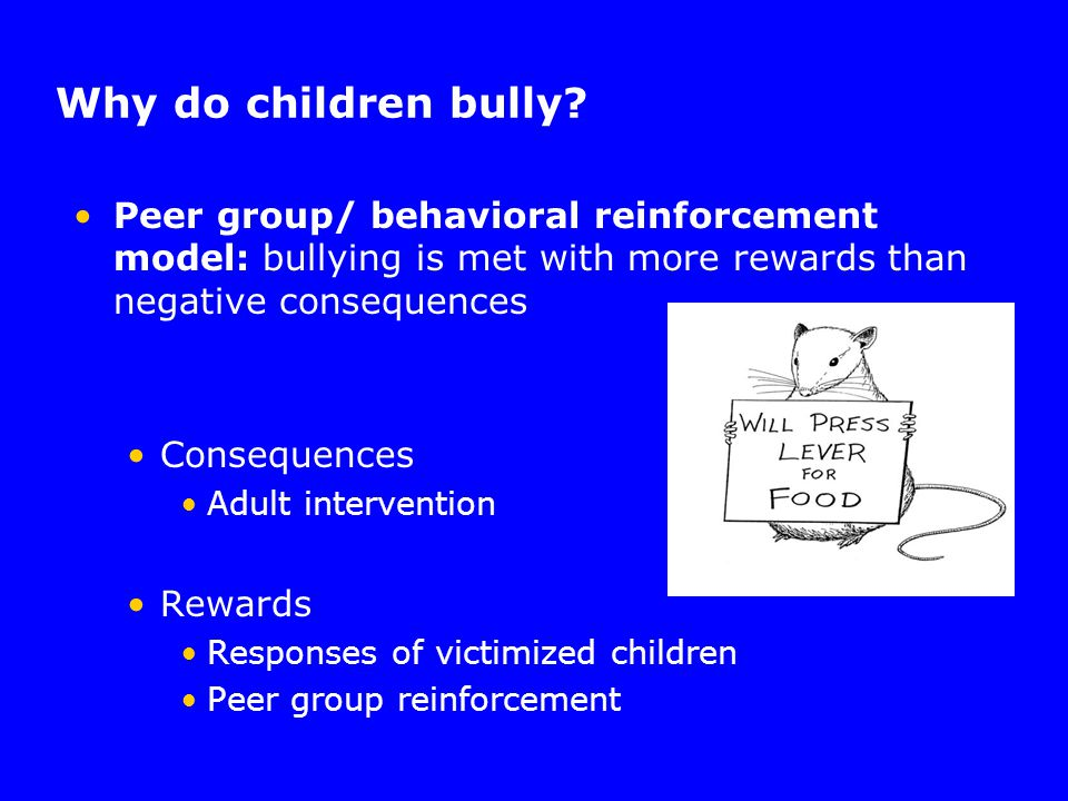 Why do children bully? Peer group/ behavioral reinforcement model: bullying is met with more rewards than negative consequences Consequences Adult int