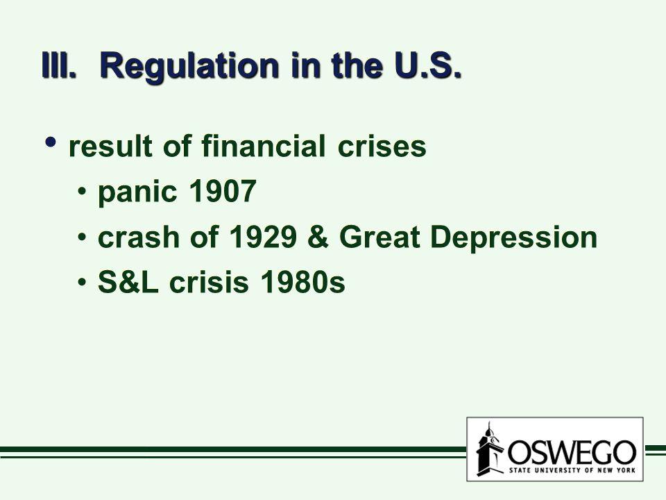 III. Regulation in the U.S.