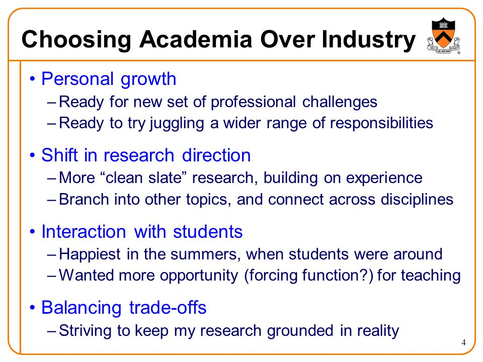 4 Choosing Academia Over Industry Personal growth –Ready for new set of professional challenges –Ready to try juggling a wider range of responsibilities Shift in research direction –More clean slate research, building on experience –Branch into other topics, and connect across disciplines Interaction with students –Happiest in the summers, when students were around –Wanted more opportunity (forcing function?) for teaching Balancing trade-offs –Striving to keep my research grounded in reality