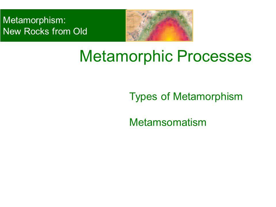 Types of Metamorphism Metamsomatism Metamorphic Processes Metamorphism: New Rocks from Old © 2008, John Wiley and Sons, Inc.