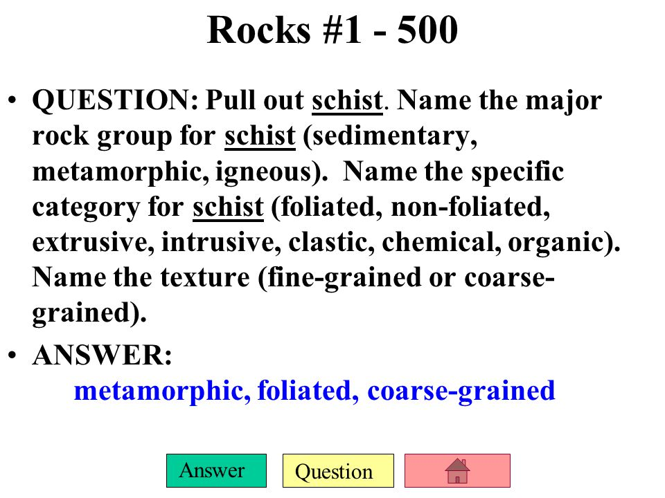 Question Answer Rocks #1 - 400 QUESTION: Pull out marble.