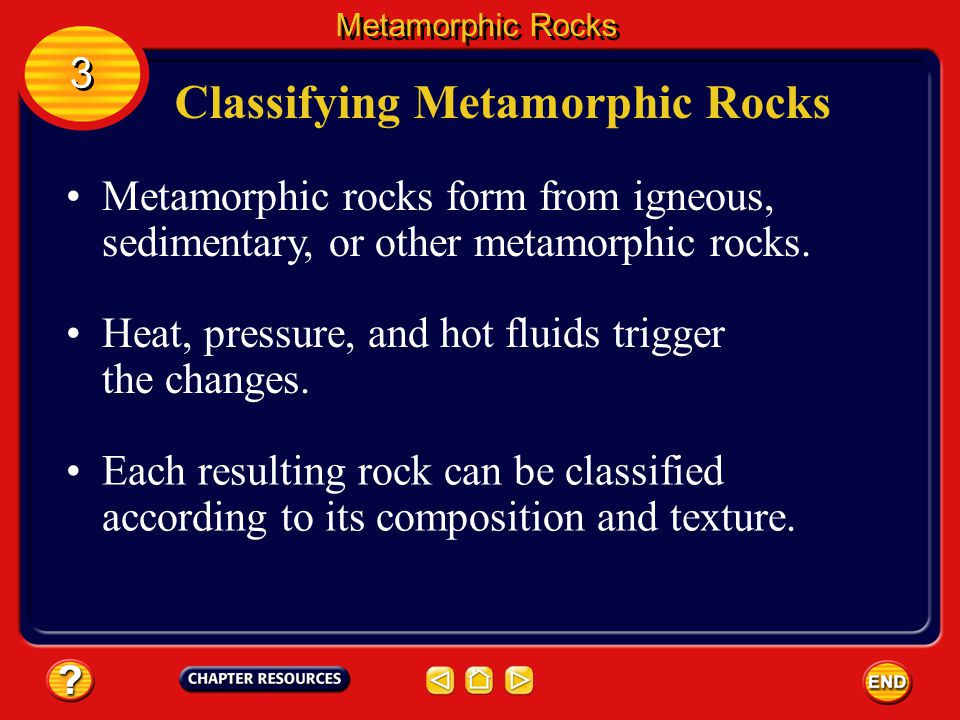 Heat and Pressure Sometimes, under these conditions, minerals exchange atoms with surrounding minerals and new, bigger minerals form. Metamorphic Rock