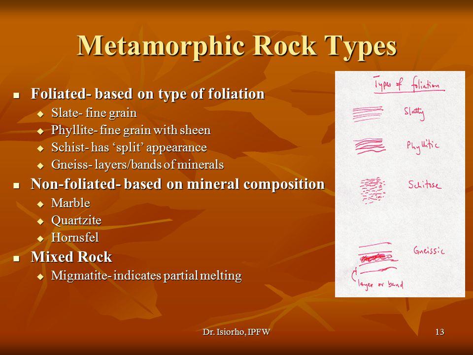 Dr. Isiorho, IPFW13 Metamorphic Rock Types Foliated- based on type of foliation Foliated- based on type of foliation  Slate- fine grain  Phyllite- f