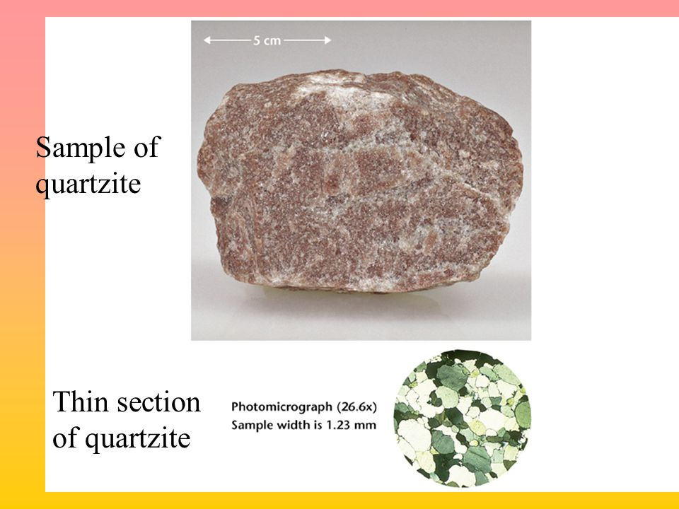 Sample of quartzite Thin section of quartzite