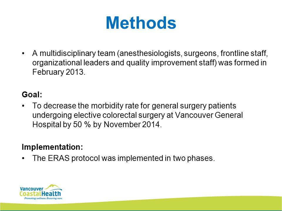 Methods A multidisciplinary team (anesthesiologists, surgeons, frontline staff, organizational leaders and quality improvement staff) was formed in February 2013.