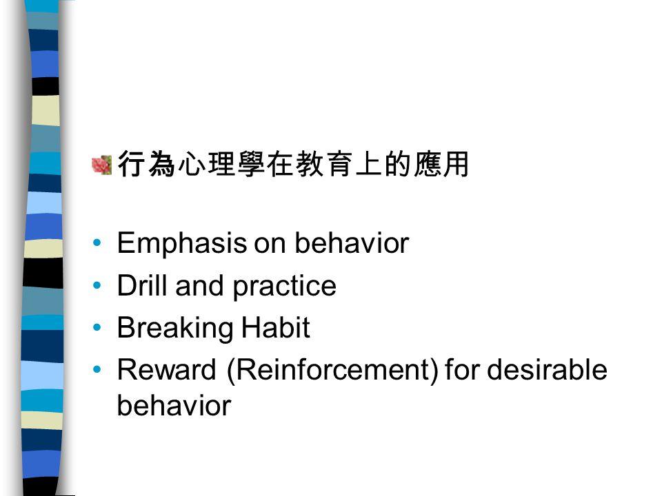 缺點缺點 Many critics argue that behaviorism is a one- dimensional approach to behavior and that behavioral theories do not account for free will and internal influences such as moods, thoughts, and feelings.