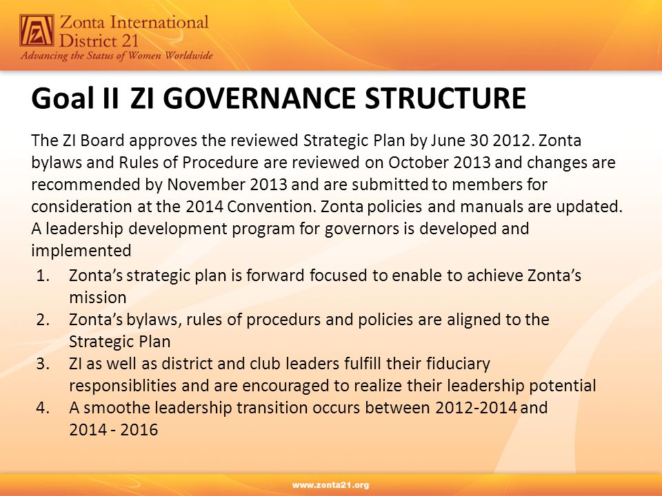 Goal IIZI GOVERNANCE STRUCTURE The ZI Board approves the reviewed Strategic Plan by June 30 2012.