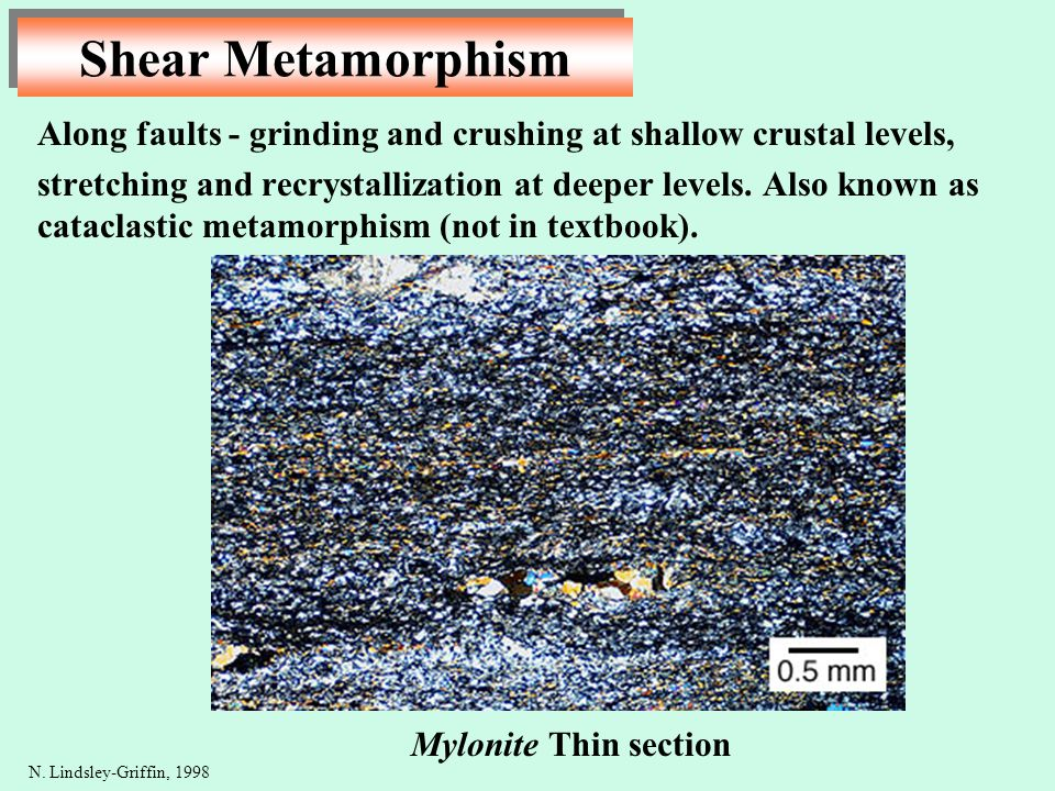 Shear Metamorphism Along faults - grinding and crushing at shallow crustal levels, stretching and recrystallization at deeper levels. Also known as ca