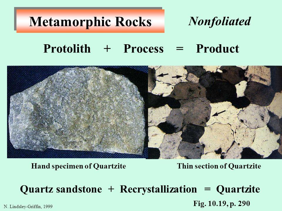 Metamorphic Rocks Protolith + Process = Product Quartz sandstone + Recrystallization = Quartzite N. Lindsley-Griffin, 1999 Thin section of QuartziteHa