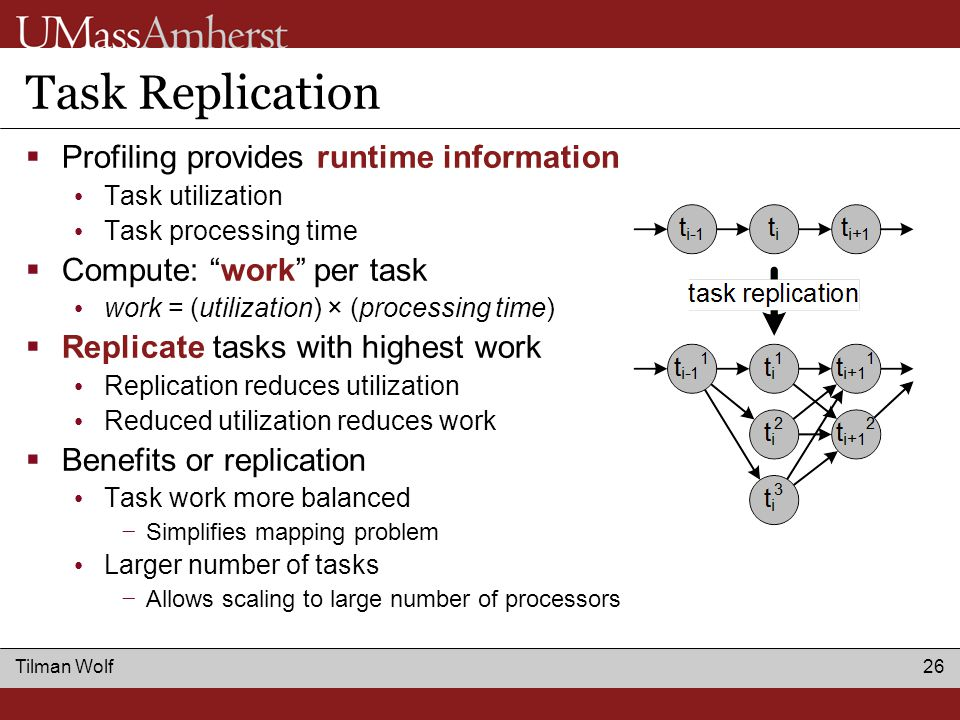 Tilman Wolf 26 Task Replication  Profiling provides runtime information Task utilization Task processing time  Compute: work per task work = (utilization) × (processing time)  Replicate tasks with highest work Replication reduces utilization Reduced utilization reduces work  Benefits or replication Task work more balanced − Simplifies mapping problem Larger number of tasks − Allows scaling to large number of processors