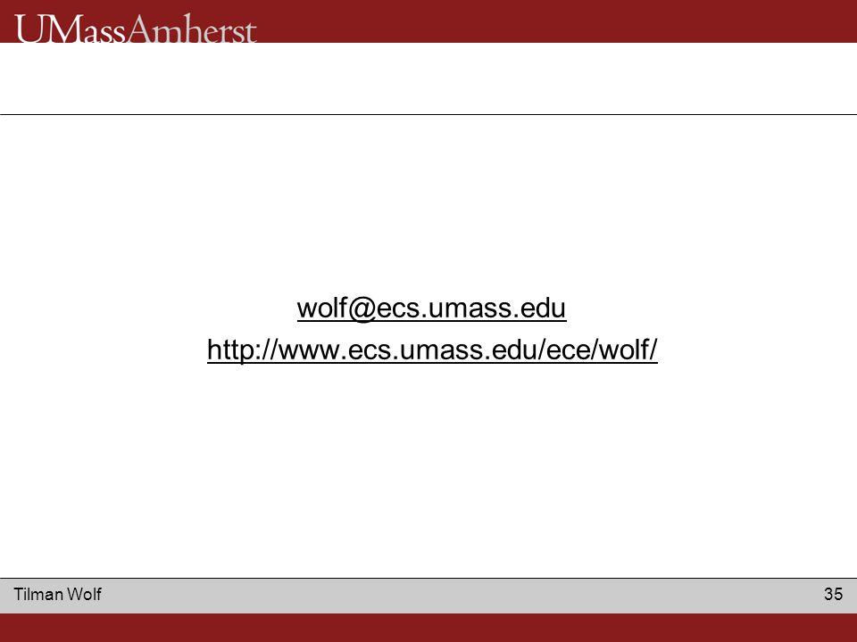 Tilman Wolf 35 wolf@ecs.umass.edu http://www.ecs.umass.edu/ece/wolf/