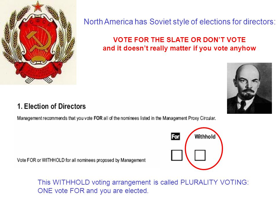 North America has Soviet style of elections for directors: VOTE FOR THE SLATE OR DON'T VOTE and it doesn't really matter if you vote anyhow This WITHH