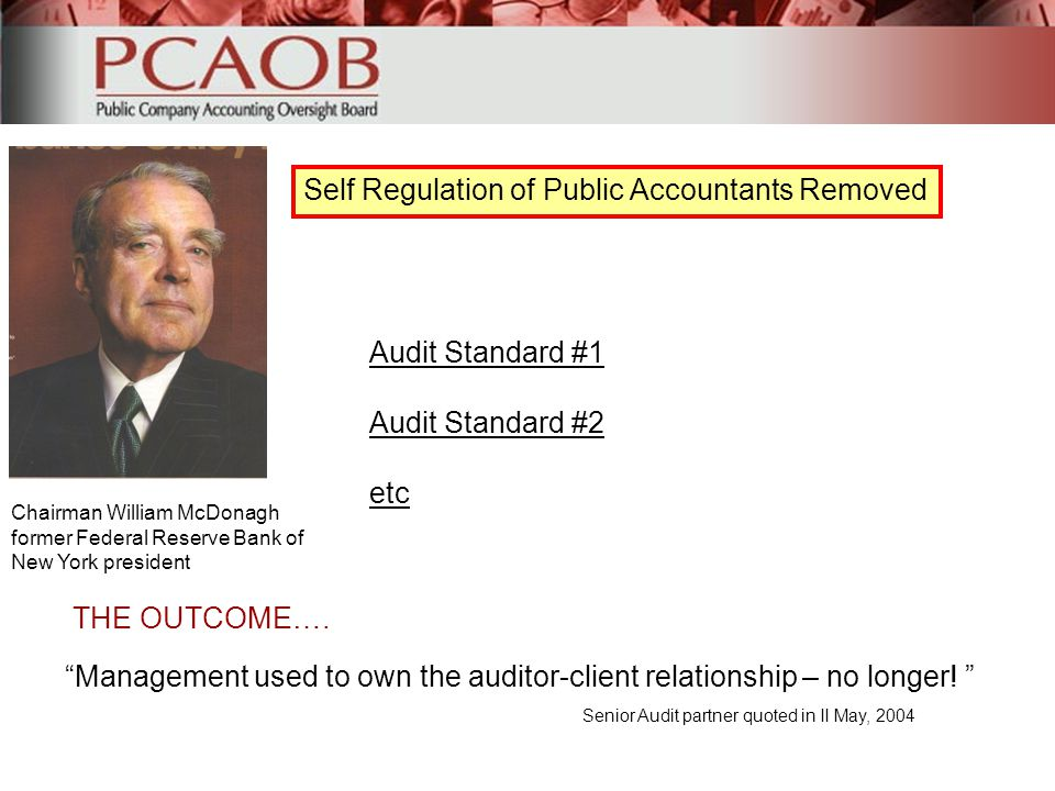 Self Regulation of Public Accountants Removed Chairman William McDonagh former Federal Reserve Bank of New York president Audit Standard #1 Audit Stan