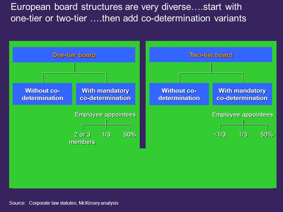 220101LNZXL492TSMW-P1 Two-tier board Without co- determination With mandatory co-determination France, Finland NetherlandsAustriaGermany <1/31/350% Employee appointees Source: Corporate law statutes; McKinsey analysis Luxembourg 2 or 3 members 1/350% One-tier board Without co- determination With mandatory co-determination U.S., U.K., Switzerland, Belgium, Italy, Spain SwedenFrance Employee appointees Netherlands European board structures are very diverse….start with one-tier or two-tier ….then add co-determination variants