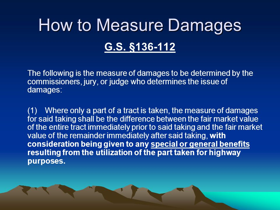 How to Measure Damages G.S.