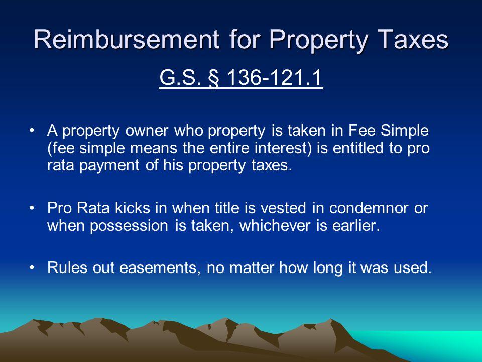 Reimbursement for Property Taxes G.S.