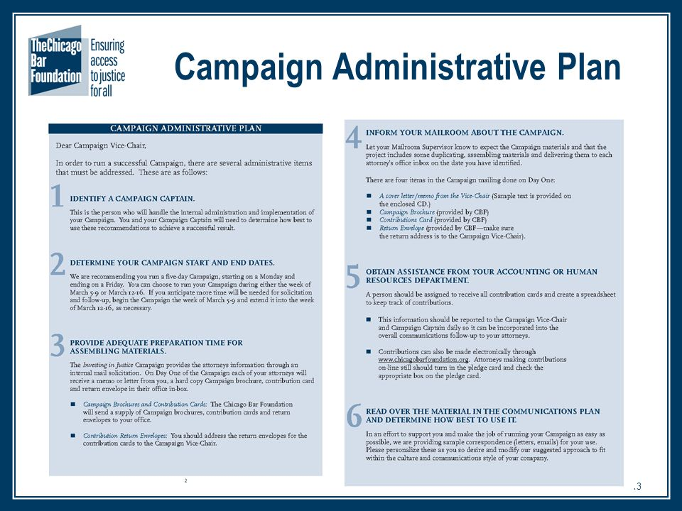 13 Campaign Administrative Plan