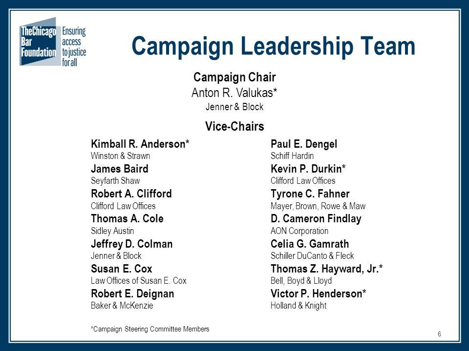 7 Campaign Leadership Team James S.Montana, Jr. Vedder Price Stephen R.
