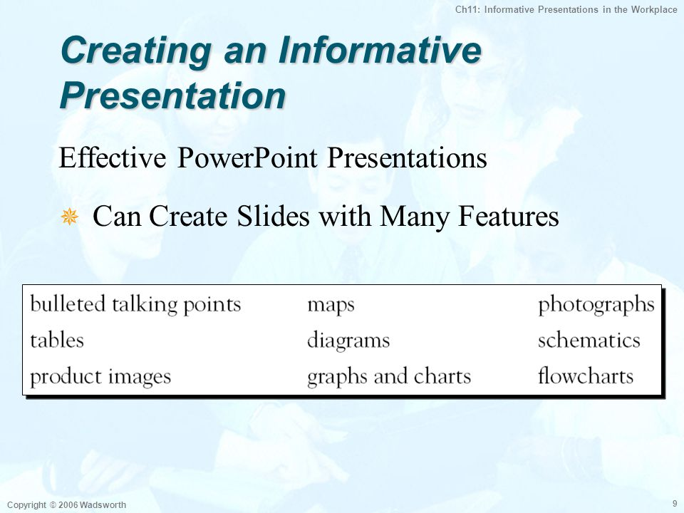 Ch11: Informative Presentations in the Workplace Copyright © 2006 Wadsworth 9 Creating an Informative Presentation Effective PowerPoint Presentations  Can Create Slides with Many Features