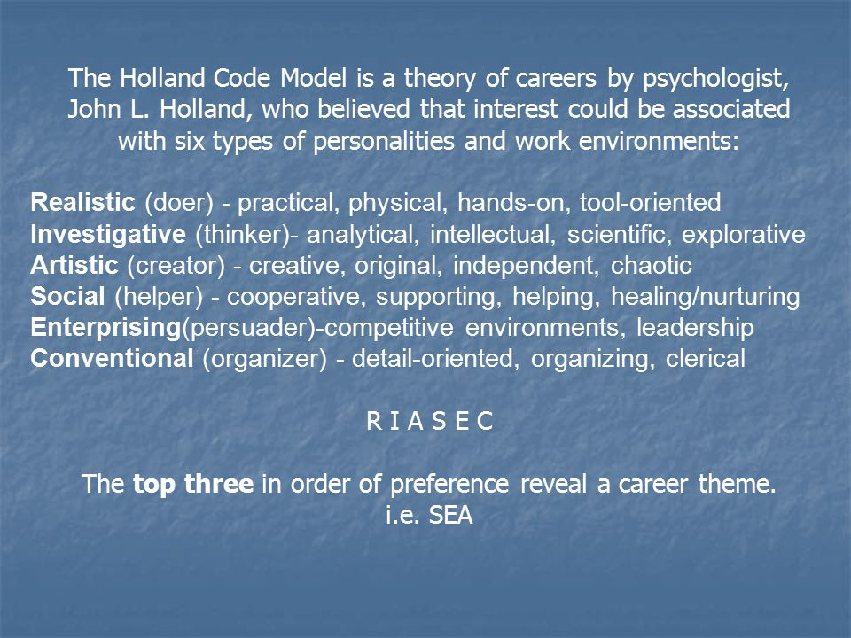 The Holland Code Model is a theory of careers by psychologist, John L. Holland, who believed that interest could be associated with six types of perso