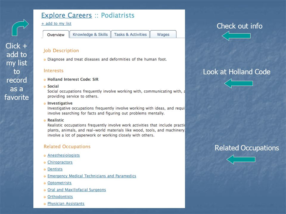 Check out info Look at Holland Code Related Occupations Click + add to my list to record as a favorite