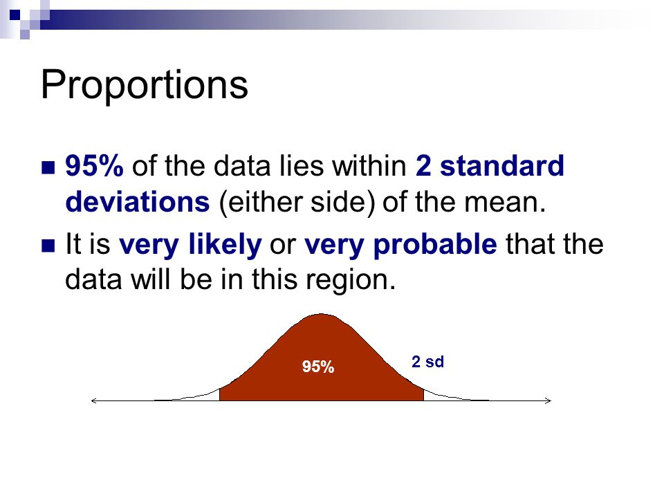 Proportions 95% of the data lies within 2 standard deviations (either side) of the mean.