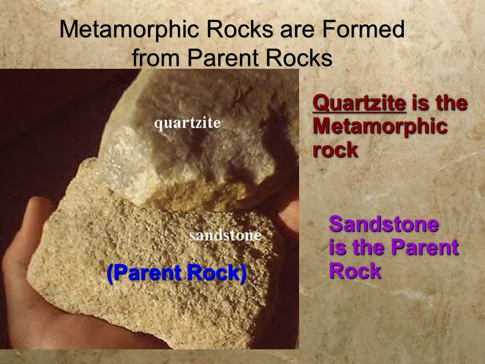 METAMORPHIC ROCK  META = CHANGE  MORPH = FORM  Metamorphism involves the change in form or structure of a rock through heat and pressure.