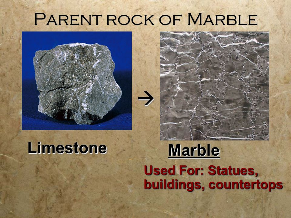 Parent rock of Marble LimestoneLimestone MarbleMarble Used For: Statues, buildings, countertops 