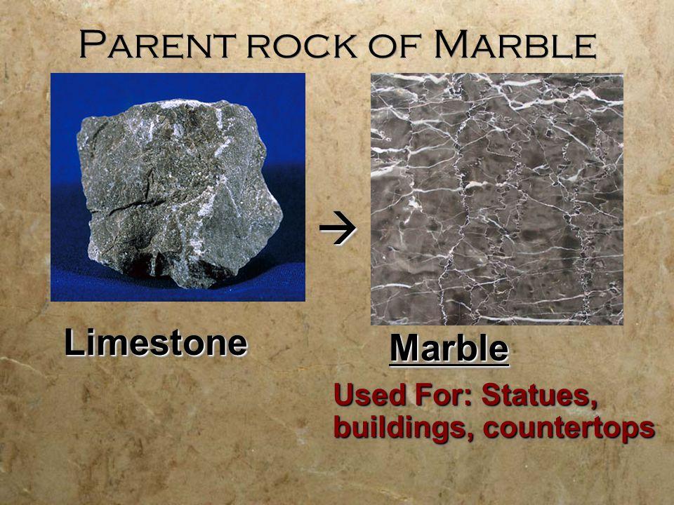 Parent Rocks Metamorphic Rocks are Formed from Parent Rocks SlateSlate ShaleShale Which specimen is the parent rock.