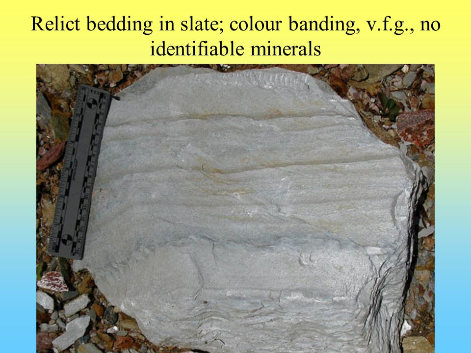Relict bedding in slate; colour banding, v.f.g., no identifiable minerals
