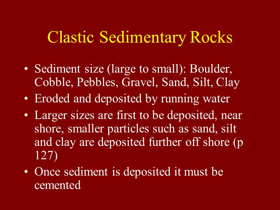 Clastic Sedimentary Rocks Sediment size (large to small): Boulder, Cobble, Pebbles, Gravel, Sand, Silt, Clay Eroded and deposited by running water Larger sizes are first to be deposited, near shore, smaller particles such as sand, silt and clay are deposited further off shore (p 127) Once sediment is deposited it must be cemented