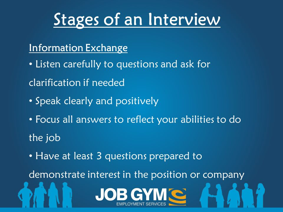 Stages of an Interview Information Exchange Listen carefully to questions and ask for clarification if needed Speak clearly and positively Focus all a