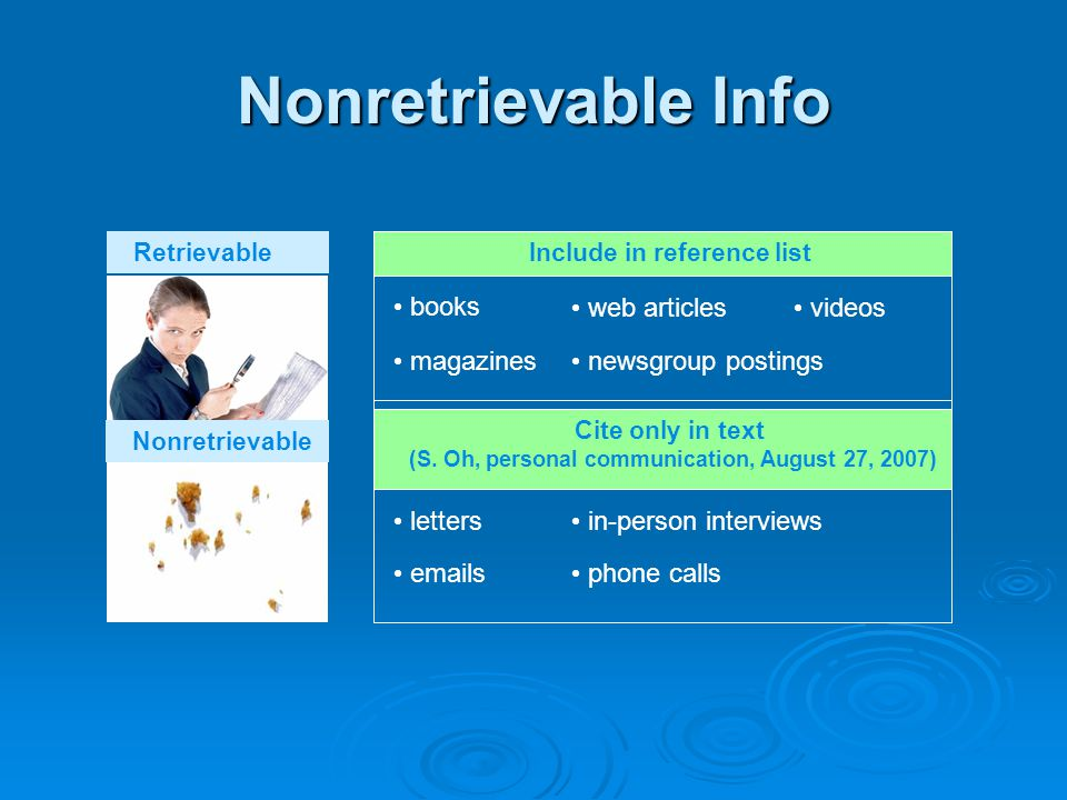 Nonretrievable Info Retrievable books magazines web articles newsgroup postings videos Nonretrievable Include in reference list letters emails in-person interviews Cite only in text (S.