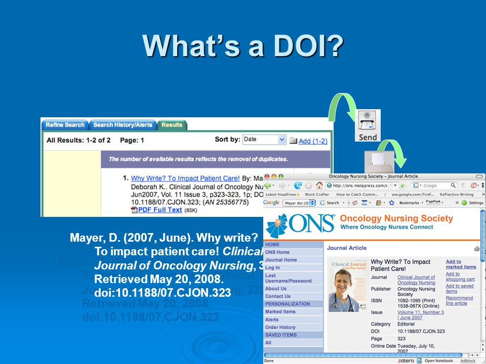What's a DOI. Mayer, D. (2007, June). Why Write.