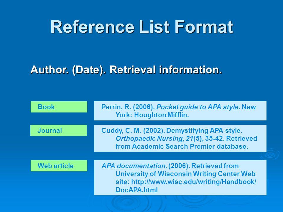 Resources http://www.dianahacker.com/resdoc/p04_c09_o.html or google Hacker APA query