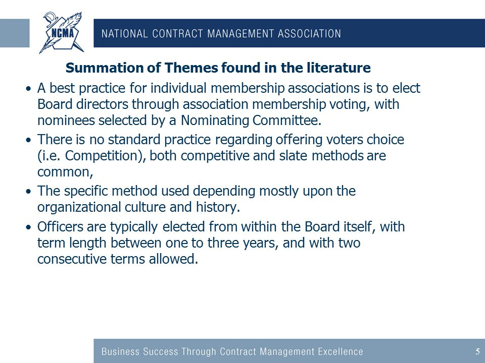 5 Summation of Themes found in the literature A best practice for individual membership associations is to elect Board directors through association membership voting, with nominees selected by a Nominating Committee.