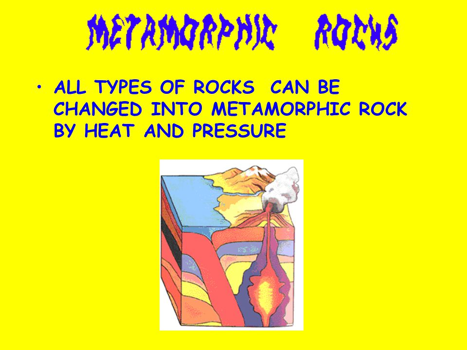 ALL TYPES OF ROCKS CAN BE CHANGED INTO METAMORPHIC ROCK BY HEAT AND PRESSURE