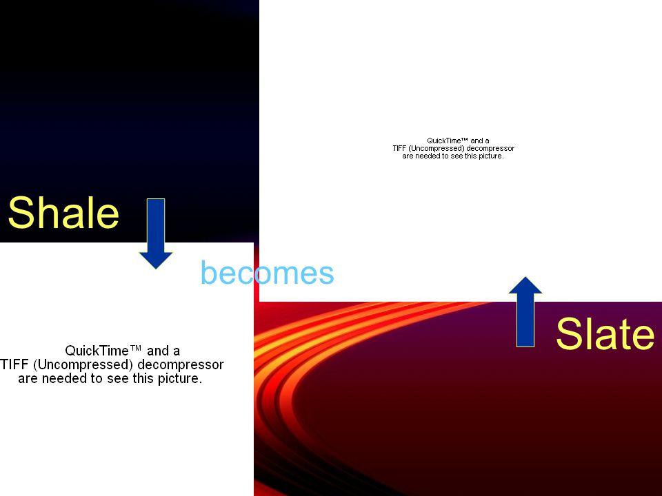 NameSub-groupWas originally Use GneissFoliatedGranitenone SlateFoliatedShaleFlooring, chalkboards SchistFoliatedMica rocksProduces garnets Anthracite Coal UnfoliatedBituminous coal Fuel MarbleUnfoliatedLimestoneBuildings, statues