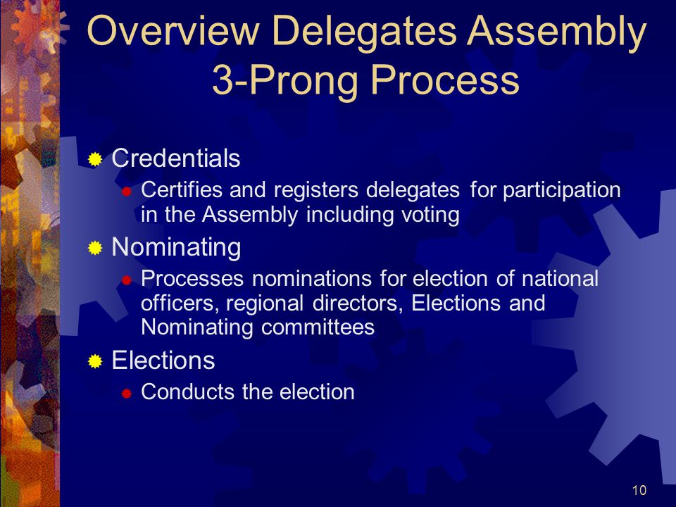 10 Overview Delegates Assembly 3-Prong Process  Credentials  Certifies and registers delegates for participation in the Assembly including voting  Nominating  Processes nominations for election of national officers, regional directors, Elections and Nominating committees  Elections  Conducts the election