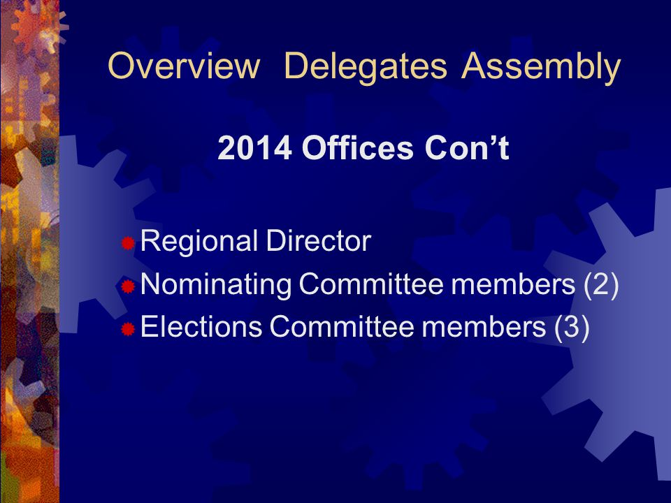 Overview Delegates Assembly 2014 Offices Con't  Regional Director  Nominating Committee members (2)  Elections Committee members (3)