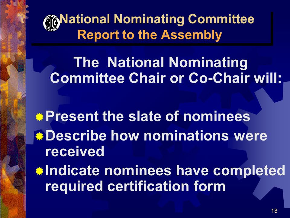 18 National Nominating Committee Report to the Assembly The National Nominating Committee Chair or Co-Chair will:  Present the slate of nominees  De
