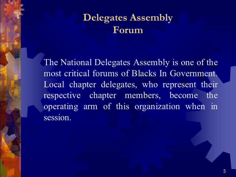 3 Delegates Assembly Forum The National Delegates Assembly is one of the most critical forums of Blacks In Government. Local chapter delegates, who re