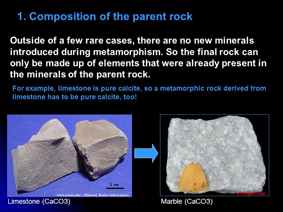 1. Composition of the parent rock Outside of a few rare cases, there are no new minerals introduced during metamorphism. So the final rock can only be