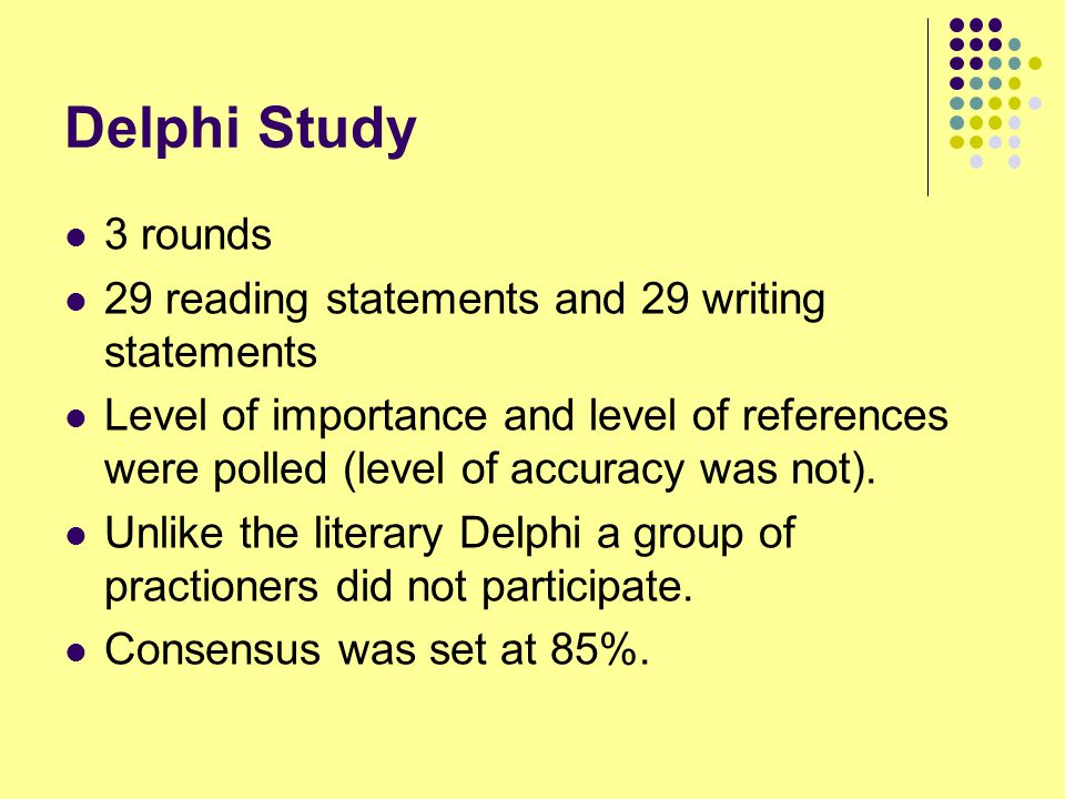 Delphi Study 3 rounds 29 reading statements and 29 writing statements Level of importance and level of references were polled (level of accuracy was not).