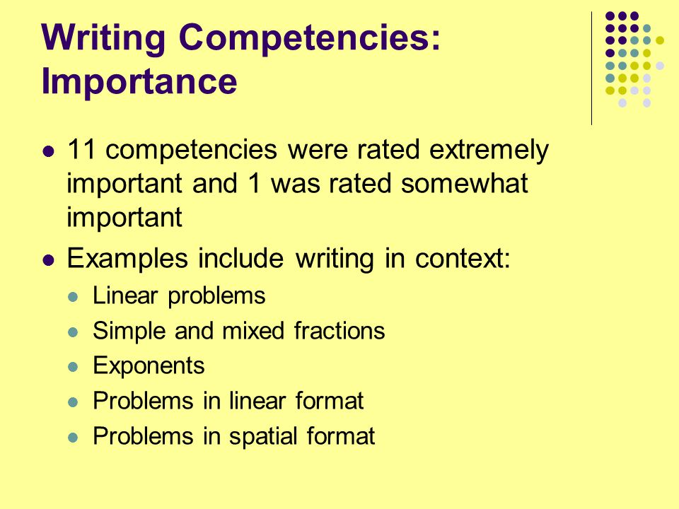 Writing Competencies: Importance 11 competencies were rated extremely important and 1 was rated somewhat important Examples include writing in context: Linear problems Simple and mixed fractions Exponents Problems in linear format Problems in spatial format