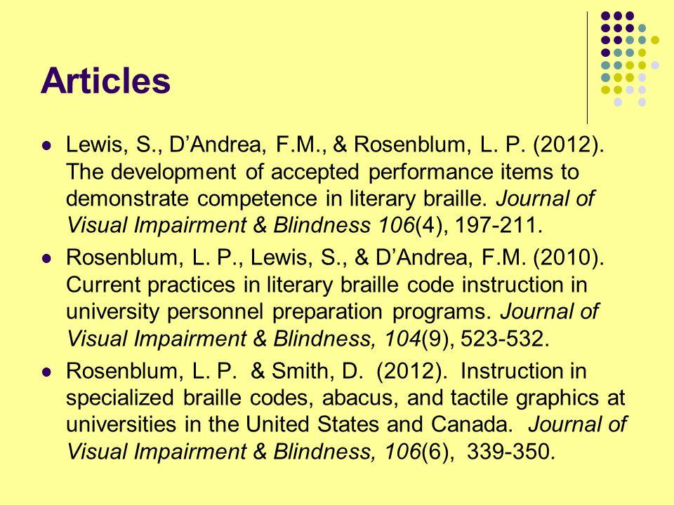 Articles Lewis, S., D'Andrea, F.M., & Rosenblum, L.
