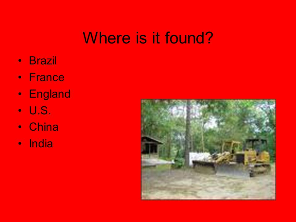Where is it found Brazil France England U.S. China India