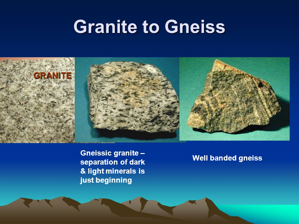 GRANITE Gneissic granite – separation of dark & light minerals is just beginning Well banded gneiss Granite to Gneiss