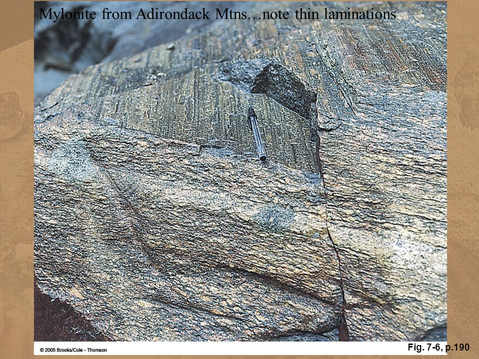 Mylonite from Adirondack Mtns…note thin laminations Fig. 7-6, p.190