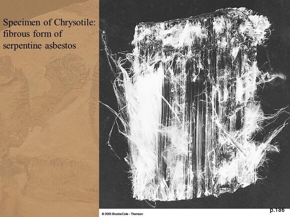 p.186 Specimen of Chrysotile: fibrous form of serpentine asbestos
